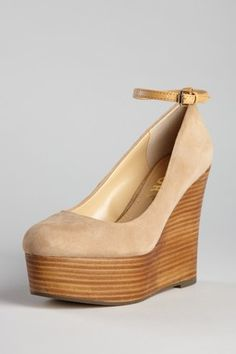 nude wedge pump with ankle strap