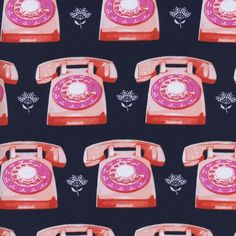Cotton & Steel by Melody Miller, Telephones in Navy - $13/yard
