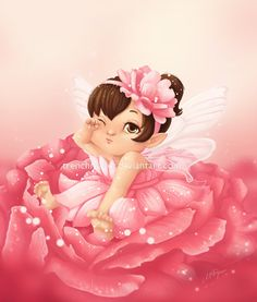 Chubby Baby Rose Fairy by trenchmaker Cute Wallpaper Backgrounds, Cute Wallpapers, Chubby Babies, Baby Fairy, Kawaii, Tea Art, Flower Fairies, Baby Cartoon, Fairy Art