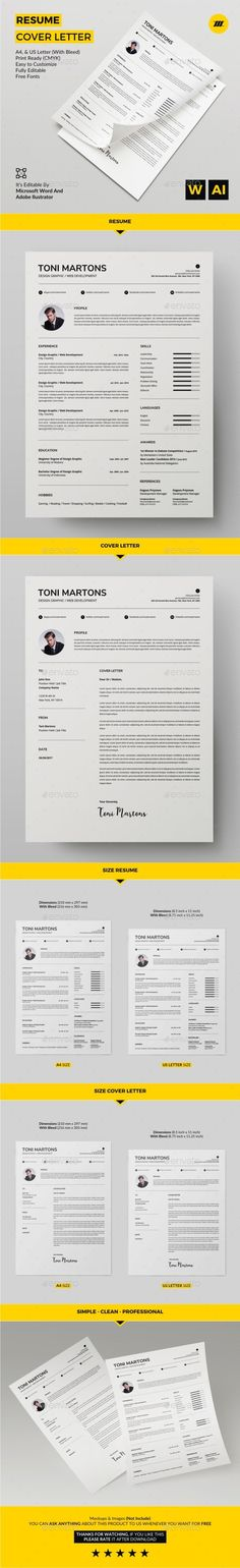resume by machruzah resume cover letter product mm x 297 mm iso international size with bleed mm x 303 mm inch x 11 in - Word Templates For Resumes