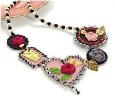 Shrink plastic is the basis for this lovely mixed media vintage style necklace by Claire Nigeon of Make Jewellery Magazine.