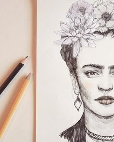 Pencil portrait of Frida Kahlo.