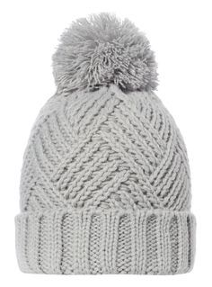 Boost your winter essentials with this versatile grey beanie, which features a chunky cable knit and a pom pom top. Crochet Shell Stitch, Knit Crochet, Crochet Hats, Mittens Pattern, Beanie Pattern, Loom Knitting, Knitting Patterns, Crochet Stitches For Beginners, Knitted Hats Kids