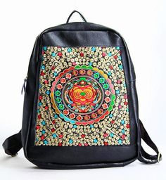 liumeier14 Leather bag / backpack bag/satchel/with colorful embroidery. Available in different leather colors and embroidery pattern on Etsy, $130.00