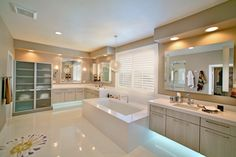 The blue lights under the vanities of this Coto de Caza master bath are sure to keep you calm on Monday mornings. Home Spa, Corner Bathtub, My Dream Home, Bathroom Lighting, Home Goods, Real Estate, Luxury, Modern, House