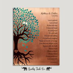 7 Year Anniversary Love is Patient Personalized Gift Faux Copper Turquoise Family Tree Roots Corinthians Custom Metal Art Print Plaque #1410