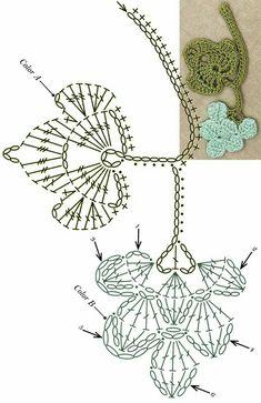 No 61 grapevine lace crochet motifs 포도덩굴 모티브도안 Débardeurs Au Crochet, Crochet Puff Flower, Crochet Leaves, Crochet Motifs, Crochet Flower Patterns, Crochet Diagram, Freeform Crochet, Crochet Chart, Thread Crochet