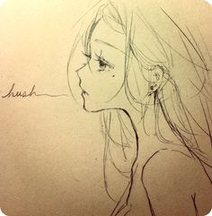 ✮ ANIME ART ✮ anime girl. . .long hair. . .piercings. . .profile view. . .pencil drawing. . .graphite. . .doodle. . .cute.. . kawaii