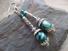 Jade Gemstone Earrings handmade jewelry green by HiddenTreasury12