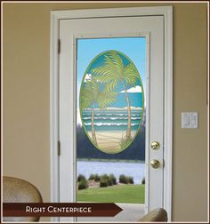 Island Oasis Stained Glass Centerpiece - Palm trees, ocean and beach combine to create an idyllic stained glass tropical paradise.