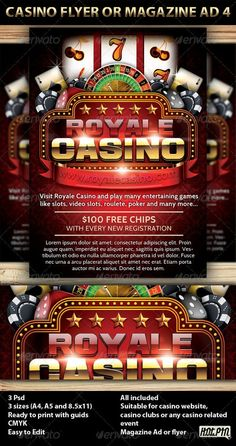 Casino Magazine Ad or flyer is a modern psd template and perfect promotion for any Casino website, casino club, or casino event.  3 PSD files 3 sizes (A4,A5 and 8.5×11inch) including bleeds and guides CMYK Print ready 300 DPI Easy named layers for better editing: