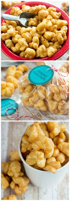Corn Puffs Caramel Corn Puffs - These crunchy, salty, sweet, melt-in-your-mouth bites have all the flavor of homemade caramel popcorn, without the annoying hulls! Good luck trying to eat only one handful.Strawberry flavor Strawberry flavor may refer to: Popcorn Recipes, Candy Recipes, Snack Recipes, Crack Popcorn Recipe, Butter Popcorn, Yummy Treats, Delicious Desserts, Sweet Treats, Yummy Food