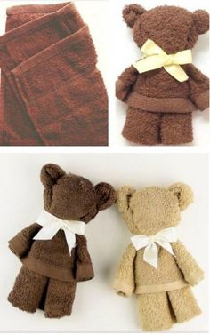You will love to learn how to make a washcloth teddy bear and it makes the perfect baby shower gift. Be sure to watch the video tutorial too. geschenke baby How To Make Washcloth Teddy Bear Video Tutorial Baby Crafts, Crafts For Kids, Kids Diy, Towel Animals, Baby Animals, Diy Bebe, Operation Christmas Child, Washing Clothes, Clothes Crafts