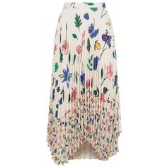 Markus Lupfer Fruit Blossom Lila Pleated Skirt ($425) ❤ liked on Polyvore featuring skirts, mid calf skirts, pink skirt, flower print skirt, floral print midi skirt and calf length skirts