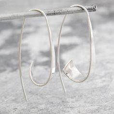 Flared Ribbon Sterling Silver Hoop Earrings
