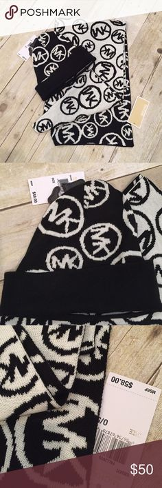 Michael Kors beanie and reversible scarf NWT Michael Kors beanie and reversible scarf NWT scarf is 62 inches long. This retails for 106.00. Michael Kors Accessories Scarves & Wraps