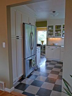 Kitchen: Marmoleum Click flooring like this, except installed diagonally.