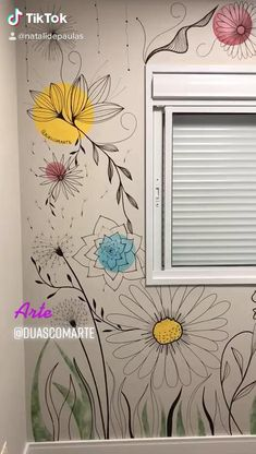 Wall Painting Decor, Mural Wall Art, Simple Wall Paintings, Garden Wall Art, Wall Drawing, Butterfly Painting, Wall Art Designs, Diy Art, Decoration
