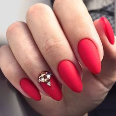 Hot Red With Matte Finish and Rhinestones Accent #rednails #rhinestonesnails ❤️ Summer designs of all shades: black, red, white, pink, natural, ombre - all with the trendy matte top! ❤️ See more: https://naildesignsjournal.com/matte-nails-art-trendy-colors/ #naildesignsjournal #nails #nailart #naildesigns #mattenails #mattecolors #mattepolish #mattemanicure