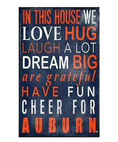 Auburn Tigers 'In This House We Cheer' Wall Sign by Fan Creations #zulily #zulilyfinds