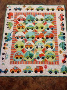 Peak Hour Crib Quilt -- baby boy, cars, transportation, blue, orange, red - neat idea for pre printed fabric.