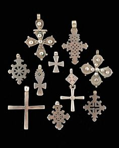 Africa | 10 silver crosses from Ethiopia | The lot 180 € ~ sold