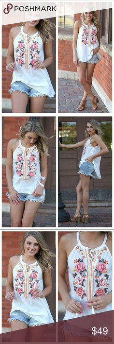 COMMING SOON!!  Embroidered Halter Tunic Georgeous halter tunic. Cami or bralette recommended.   Like to be notified when it arrives. Infinity Raine Tops Tank Tops