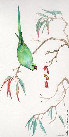 Купить Акварель Любопытство. Попугай - попугай, акварель, зеленый, эвкалипт, ветки, бубенчики, картина в подарок