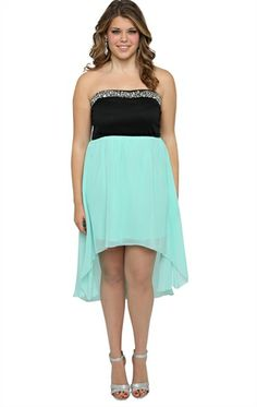 Deb Shops plus ponte strapless bodice ab stone sweetheart neck chiffon high low
