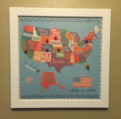 12x12 United States Travel Map Bulletin Board by ReminisceInStyle    Children's room decor - road trips - pinboard - gift idea - family gift - travel