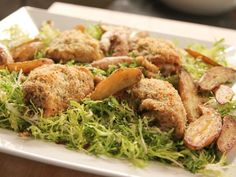 """Crispy Mustard Chicken & Frisée (Cook Like a Pro: Salads for Four Seasons: Spring) - Ina Garten, """"Barefoot Contessa"""" on the Food Network. Food Network Recipes, Food Processor Recipes, Cooking Recipes, Cooking Courses, Cooking Network, Pan Cooking, Cooking Wine, Ina Garten Chicken, Mustard Vinaigrette Recipe"""