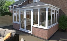 Add more light and room to your home with a solid roof conservatory. Edwardian Conservatory, Small Conservatory, Conservatory Dining Room, Conservatory Design, Cottage Extension, House Extension Design, House Design, Replacement Conservatory Roof, House Front Door