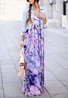 Multicolor Floral Pleated Bandeau Floor Length Bohemian Dress - Maxi Dresses - Dresses