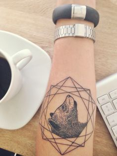 Bear Tattoo geometric ink, Karolina Bebop, fuelband
