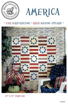Patriotic quilt pattern by Black Mountain Needleworks. Easy scrap quilt pattern with clear step-by-step instructions and diagrams. Flag Quilt, Patriotic Quilts, Quilt Blocks, Star Quilts, Mini Quilts, Butterfly Quilt Pattern, Pattern Paper, Colorful Quilts, Blue Quilts