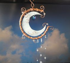 Moon Shine, Copper Art, Stained Glass Moon, Wind Chimes, Mobile, Wall Hanging. $38.00, via Etsy.
