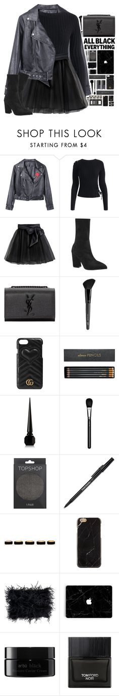 """""Monochrome: All Black Everything"" - Contest"" by ritaof ❤ liked on Polyvore featuring Little Wardrobe London, Yves Saint Laurent, Old Navy, NARS Cosmetics, Gucci, Sloane Stationery, Christian Louboutin, MAC Cosmetics, Topshop and Paper Mate"