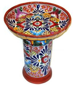 Colorful Talavera Birdbath