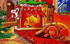 Beside The Fire by ZuzanaGyarfasova on DeviantArt Xmas Cards Handmade, Coloured Pencils, Fire, Deviantart, Christmas, Painting, Handmade Christmas Greeting Cards, Yule, Xmas