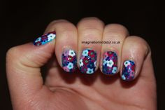 Blue Nail Art Design Flowers - For Styling Equipment be sure to see http://www.beautysupplylosangeles.com/829w