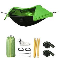 tree camping tent - Crehouse Hammock Tent with Mosquito Net and Rainfly Rain Cover Waterproof Shelter Portable for Camping, Hiking, Travel, Outdoors and Backpacking (Green) *** You can get more details by clicking on the image. (This is an affiliate link) #ilovesydney