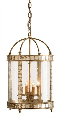 CURREY & COMPANY - Corsica Lantern - Vintage styling with a pleasing combination of materials make this small four-light lantern unique. Inlaid antiqued mirror enhances an antiqued silver leaf framework. Seeded bent glass is the finishing touch