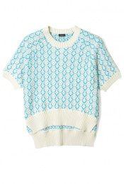 Circle Knit Jacquard Round Neck Short Sleeve Top by Joseph