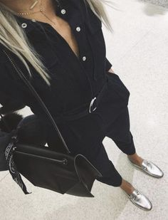 all black, silver loafers, ootd, outfit inspo, outfit ideas, fashion blogger