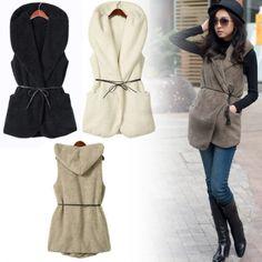 Women's Girls Fashion Elegant Warmer Casual Bushy Hoodie Long Vest Coat