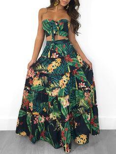 Hawaii Bandeau Strapless Crop Top Skirt Two Piece Floral Printed Matching Set Maxi Skirt Crop Top, Strapless Crop Top, Strapless Dress Formal, Sexy Skirt, Trend Fashion, Fashion Usa, Womens Fashion, Style Fashion, Fashion Online