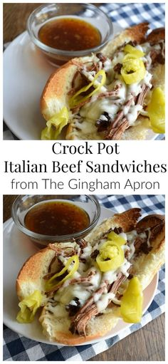 Crock Pot Italian Beef Sandwiches- throw three ingredients into your crock pot, and then enjoy these delicious, melty, toasty, flavorful beef sandwiches.