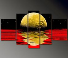 large abstract full moon oil paintings Lunar surface oil pictures 5 panels wall decor canvas decorations for home art set 5Pn26(China (Mainland))