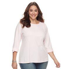 Plus Size Croft & Barrow® Sleeve Lace Tee, Brt Pink