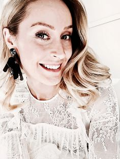 Black statement earrings by H&M and white lace shirt with ruffles by &Other Stories - Anna Pauliina, Arctic Vanilla blog.